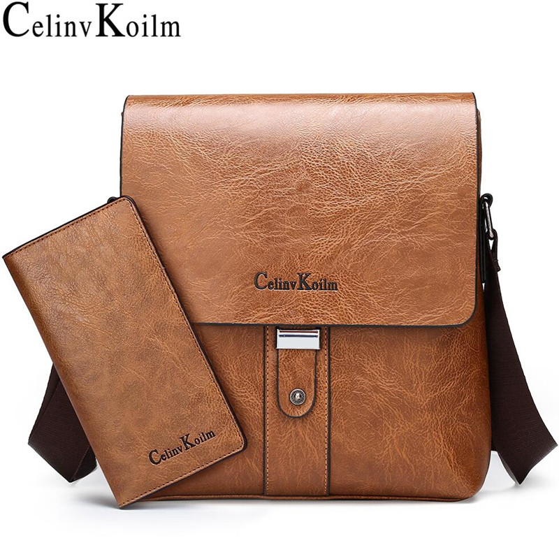 Celinv Koilm Men Shoulder Bag Set Big Brand Crossbody Business Messenger Bags For Man Fashion Casual pu Leather New Hot Salling