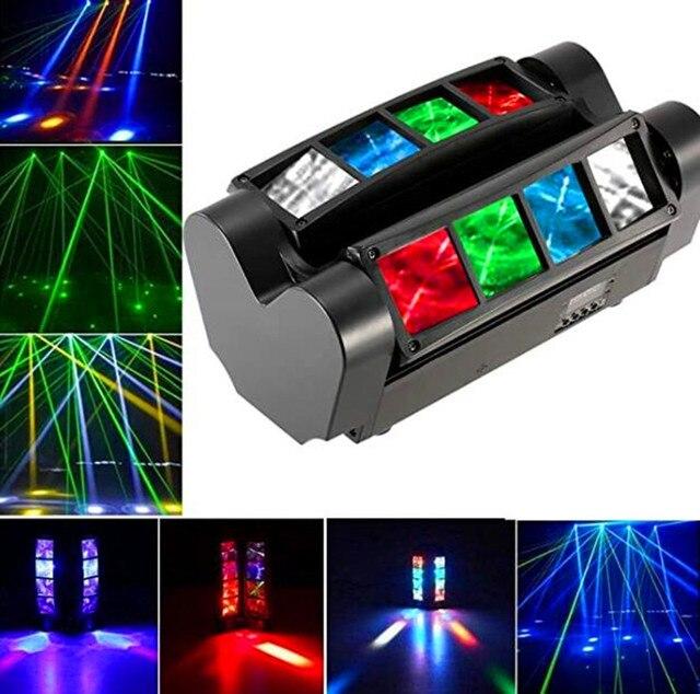 YaYao 8X3W Mini LED Luz De Araña DMX512 Iluminación Con Cabeza Giratoria RGBW Haz Club Disco Para Proyectora Dj Light