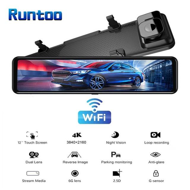 "Car DVR 2160P 12"" 4K Sony IMX415 Rear View Mirror Camera GPS FHD 1080P Rear Camera Dash Cam Video Recorder Registrar with Mount 3"