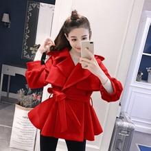 Autumn Winter Women Good Cloth Coat Waist Belt Short Brief Paragraph Outfit Woolen Skirted Overcoat Leisure Outwear Girl