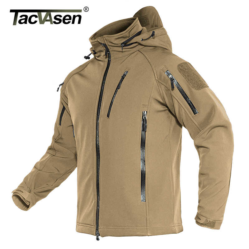 TACVASEN Airsoft 군사 전술 재킷 남자 겨울 양털 안감 후드 Softshell 육군 재킷 코트 Windproof 폭행 코트 4XL