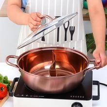 Cookware Hot-Pot Soup Fondue Binaural Twin-Divided 40cm Kitchen Dia Thicken 304-Stainless-Steel