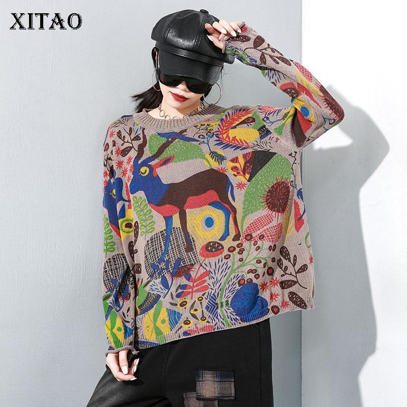 XITAO Personality Vintage Sweater Fashion Plus Size Pullover Women O Neck Trend Autumn Winter Clothes Women Streetwear XJ2896