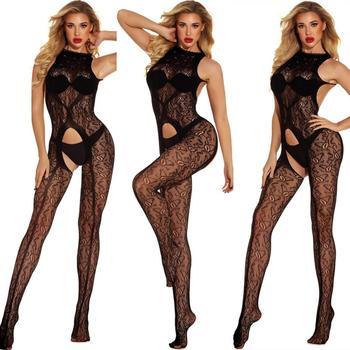 Women Black Crotchless Bodysuit Bodysuits INTIMATES