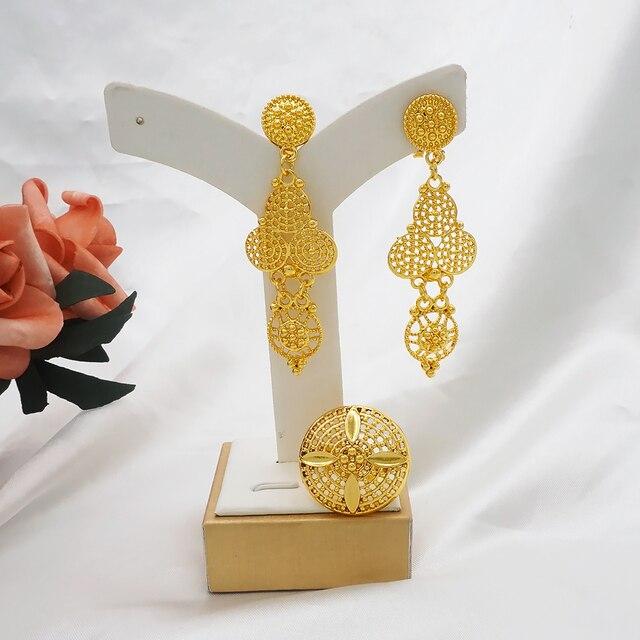 Dubai conjuntos de jóias colar de ouro & brinco conjunto para as mulheres africano frança festa de casamento 24k jóias etiópia presentes de noiva 5