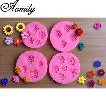 Aomily – moules à gâteau en forme de fleur en Silicone, 4 Types, outils de décoration de gâteau Fondant, moule à bonbons au chocolat, en résine d'argile, outil de cuisson