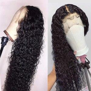Image 1 - Brezilyalı 13x4 dantel ön İnsan saç peruk ön koparıp bebek saç ile derin dalga kısa su kıvırcık Frontal peruk siyah kadınlar için