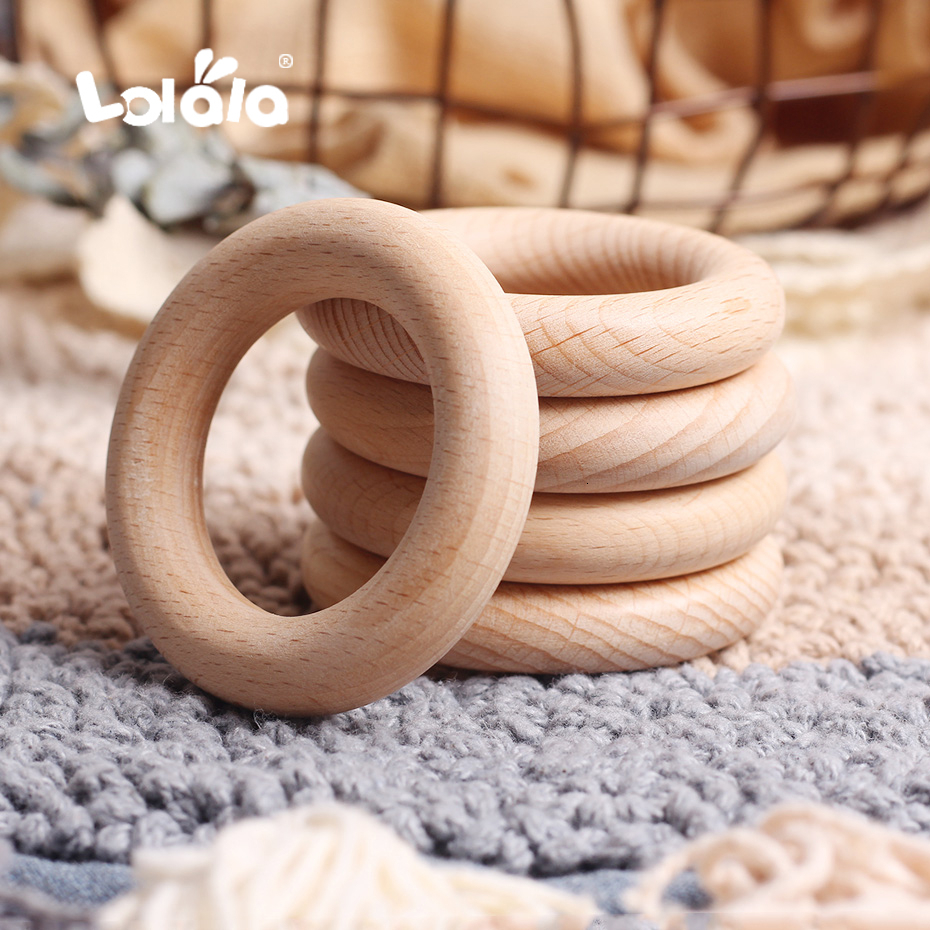 20Pcs 40/55/60mm Organic Beech Wood Teether Baby Teething Ring Smooth Round Wooden Teether Toy DIY Pacifier Chain Accessorie