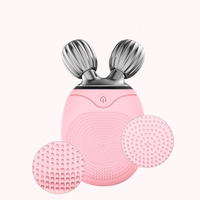 LINMEE Face Roller Massager Electric Silicone Facial Cleansing Brush Vibration Massage Face Cleaner Face lift Roller Beauty Tool