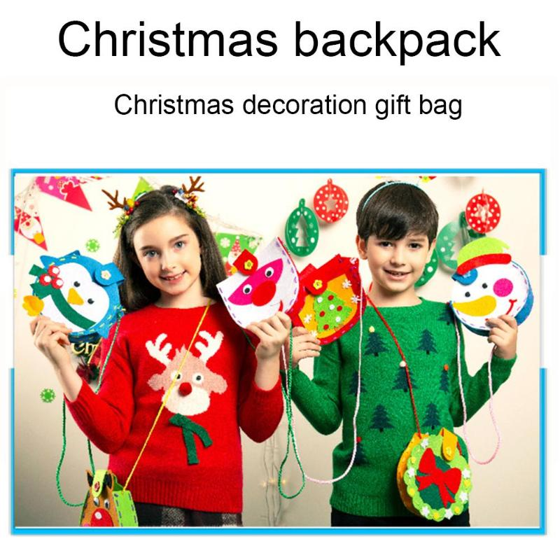 DIY Christmas Gift Bag Enhance Baby Sense Touch Cute Shape Materials Kit Kid Non-Woven Handmade Shoulder Pouch Craft
