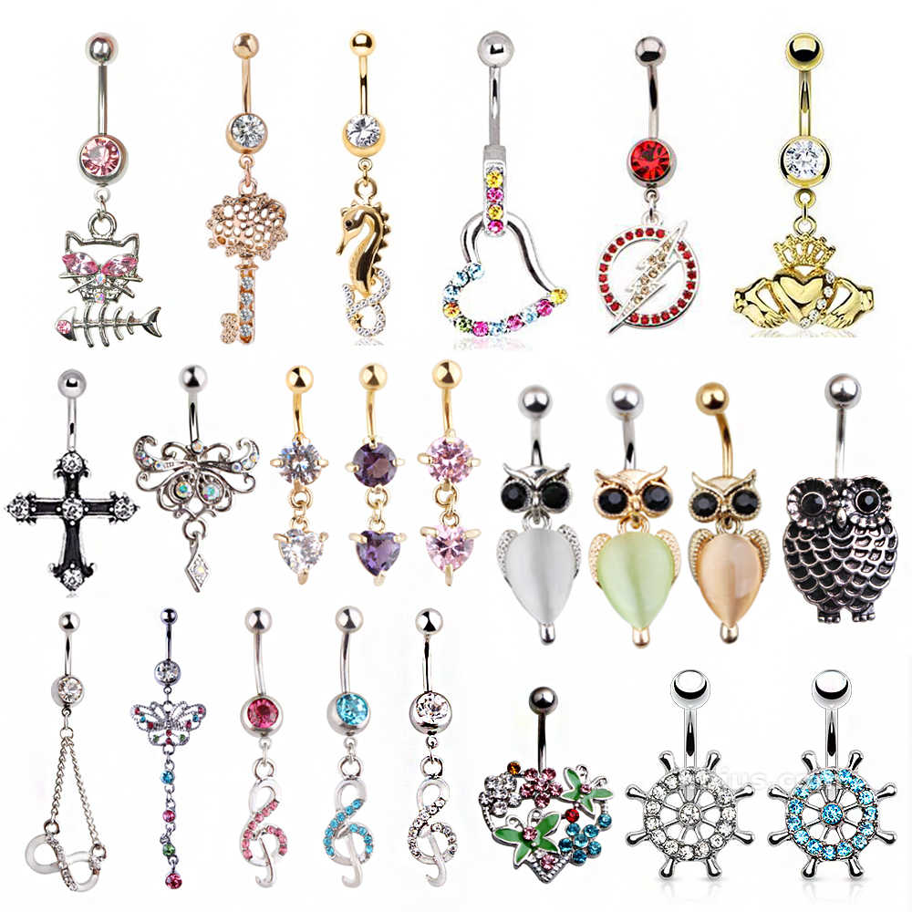 Multi-Styles Steel Belly Piercing Navel Rings Butterfly Cross Belly Button Rings Piercing Body Jewelry Ombligo Nombril 14gx10mm
