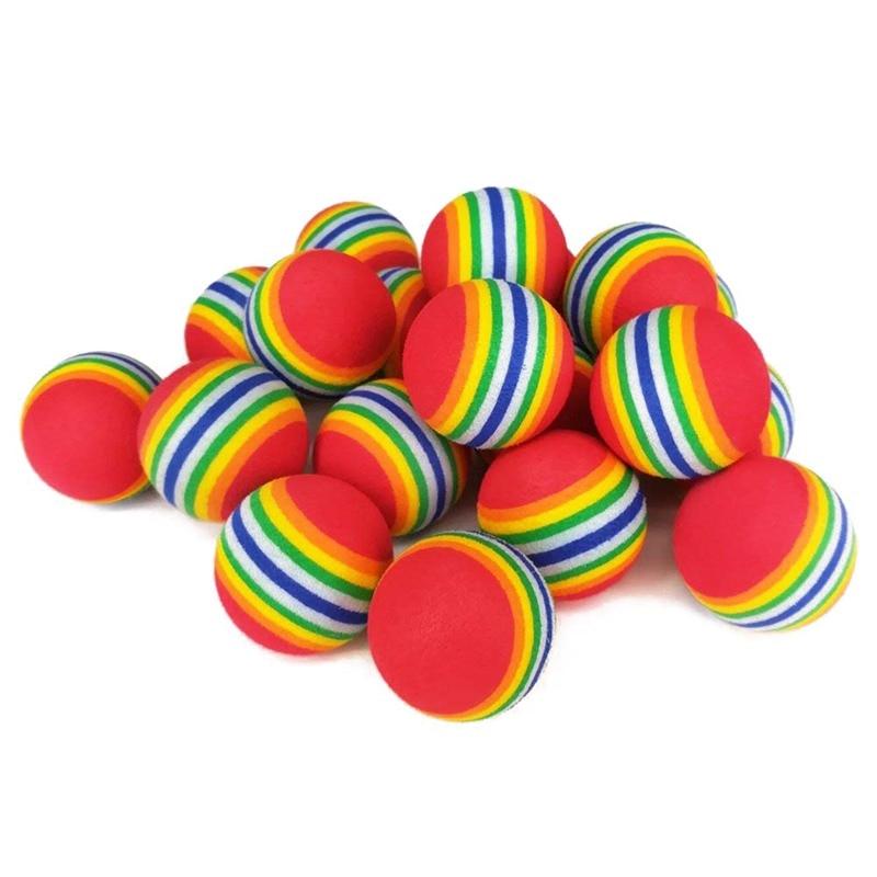 Doutop Practice Golf Ball Urethane Ball 30 Pieces Set Indoor Training Practice Golf Colorful Rainbow Rainbow Color