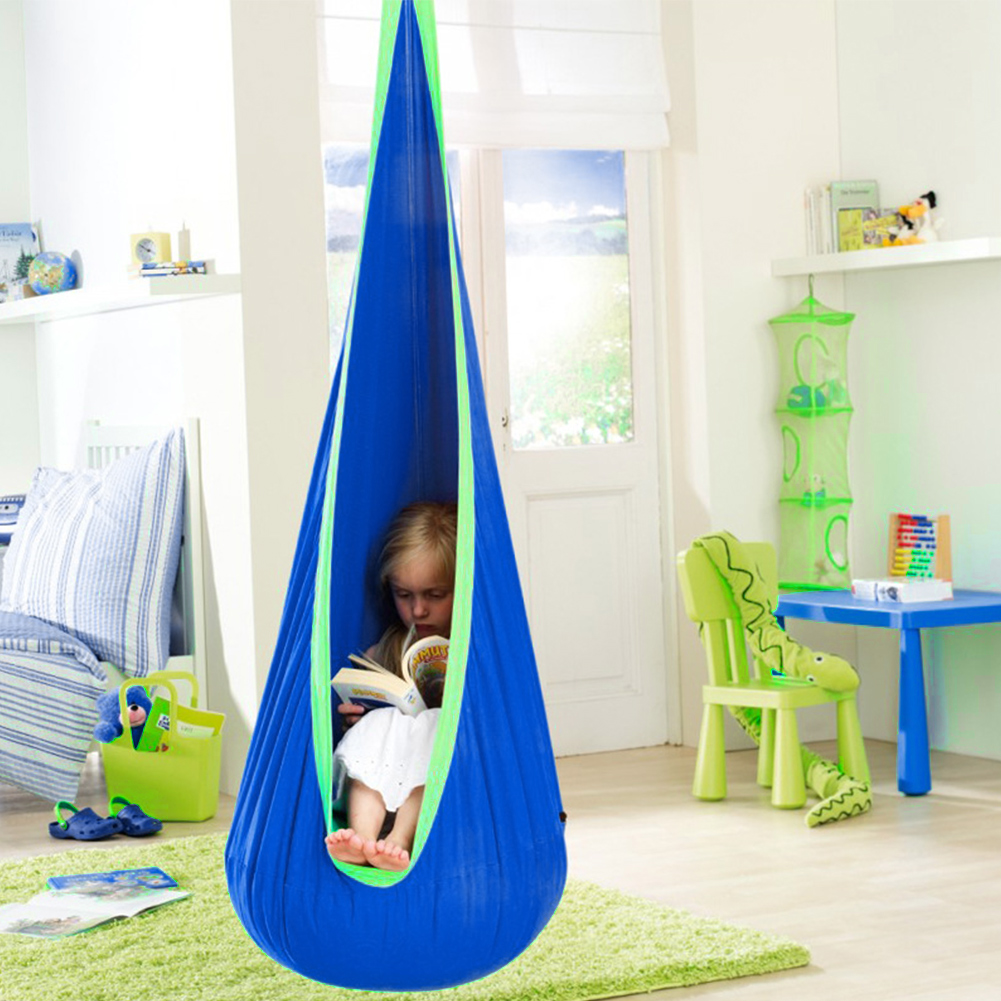 Swing Pod Indoor Space Saving Zipper Children Hanging Seat Hammock Chair Roof Home Air Cushion Tree Comfortable Outdoor