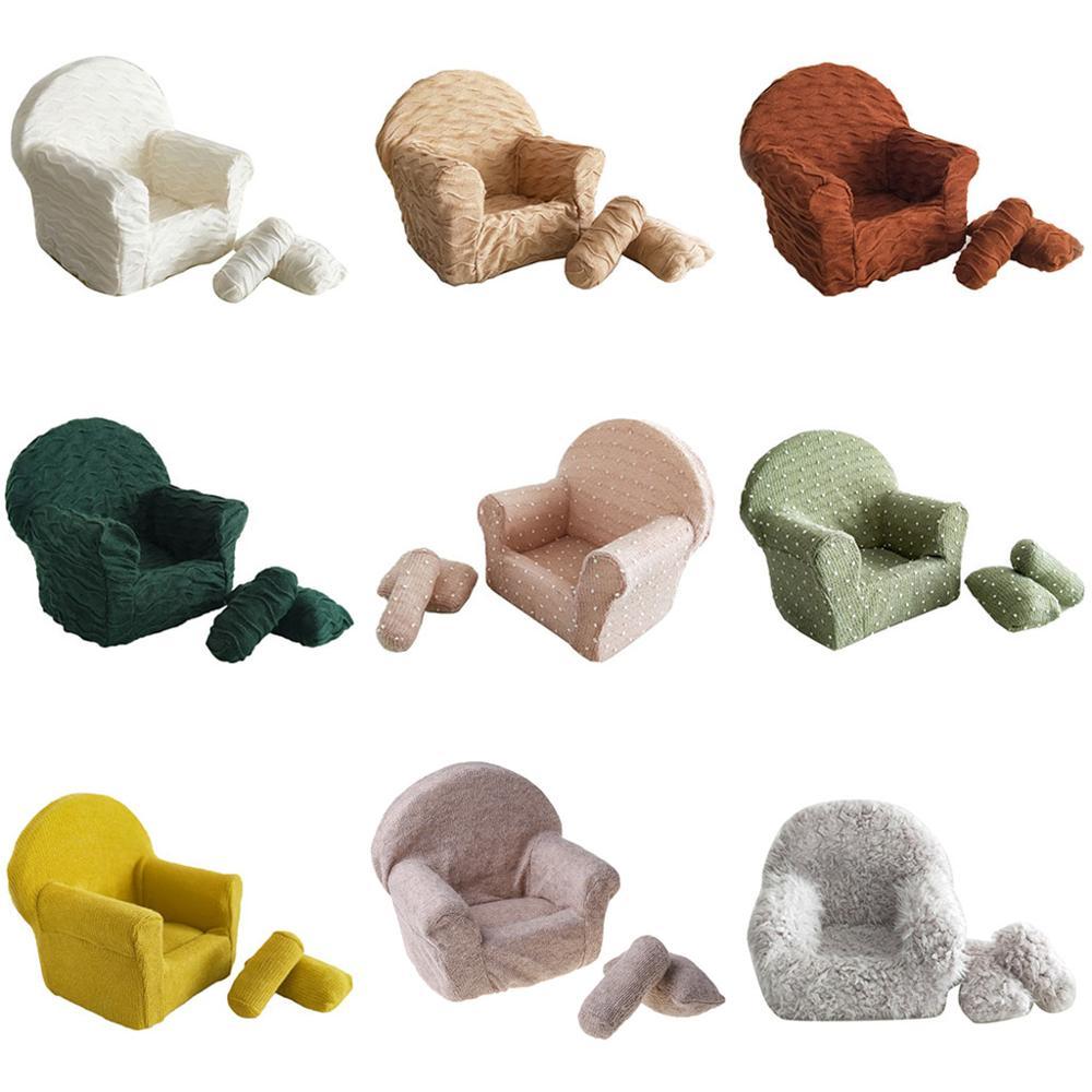 3 Pcs Newborn Photography Props Baby Posing Sofa Pillow Set Infant Photo Shooting Chair Decoration Fotografia Accessories