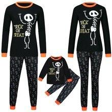 Halloween T Shirt Women Men  Children Letter Print Top+Pants Family Clothes Pajamas Vintage