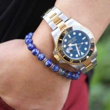 Fashion Top Grade Man Bracelet New Classic Natural Lapis Lazuli Tiger Eye Matte Beads Stone Charm Bracelet For Male Jewelry Gift