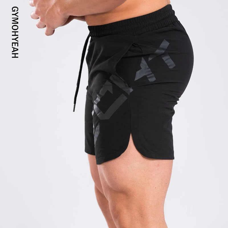 GYMOHYEAH Mens Shorts Summer Black Casual Fitness Gyms Bodybuilding Jogger Training Clothing Quick-drying compression Shorts Men