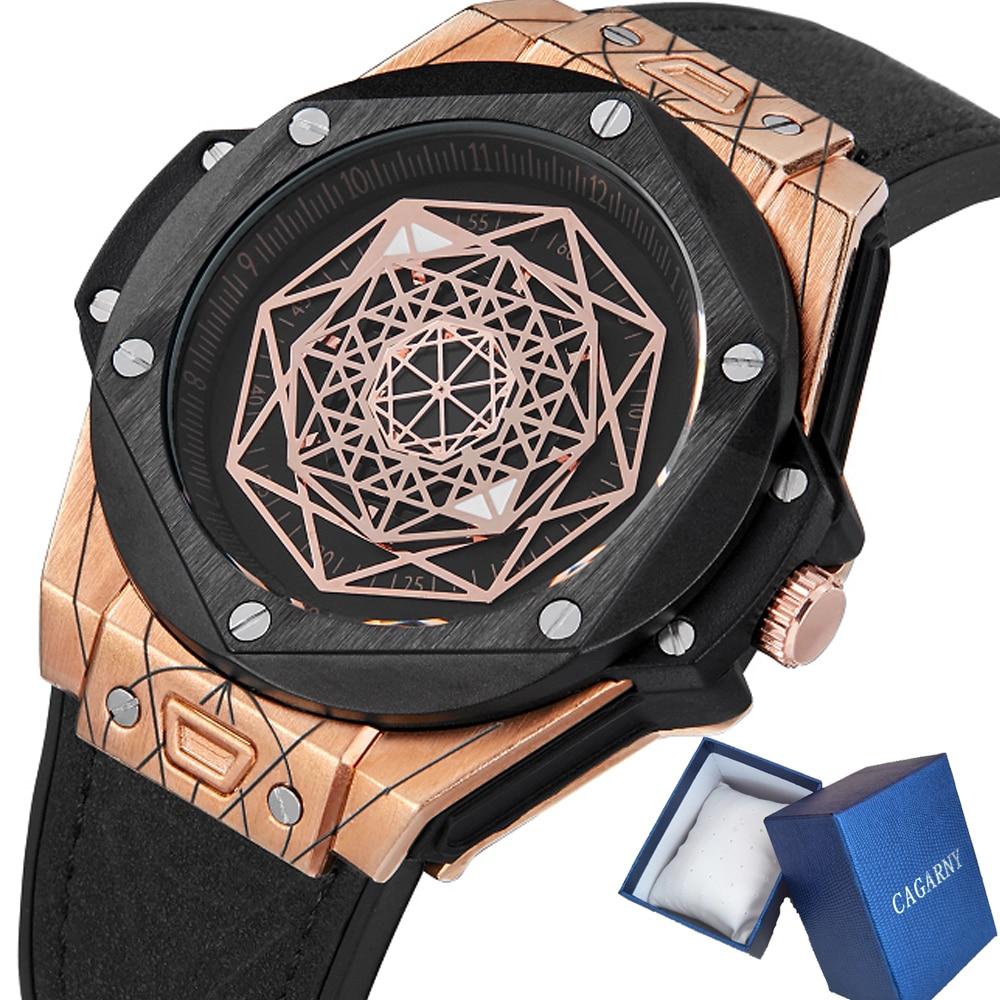 Cagarny Creative Watch Men Luxury Brand Mens Quartz Watches Leather Rubber Strap Sport Wristwatches Waterproof Relogio Masculino