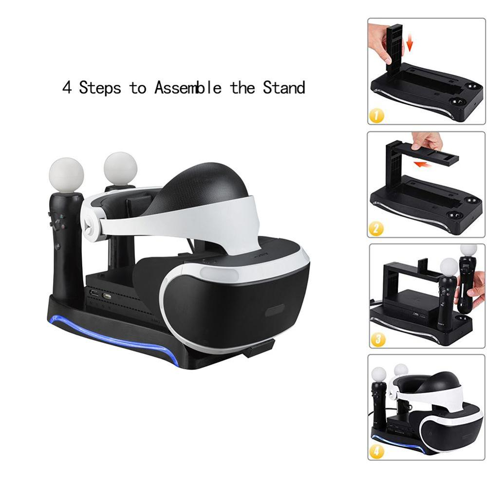 lowest price For Sony Playstation PS4 VR Charging Dock 2nd 4-in-1 Multi-Functional Base Holder For PS3 MOVE PS4 Handle Console Charger