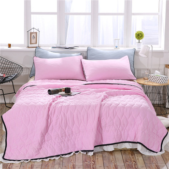Korean Version Pink Summer Quilt Lace Thin Blanket Student Dormitory Air Conditioning Quilt Washed Cotton Quilt Princess Style