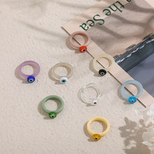2021 New Korea Transparent Colorful Acrylic Thin Rings for Women Girls Round Eye Shaped Rings Party Jewelry Gift
