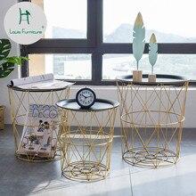 Скандинавские современные золотистые железные провода металлическая корзина для хранения боковой стол черный