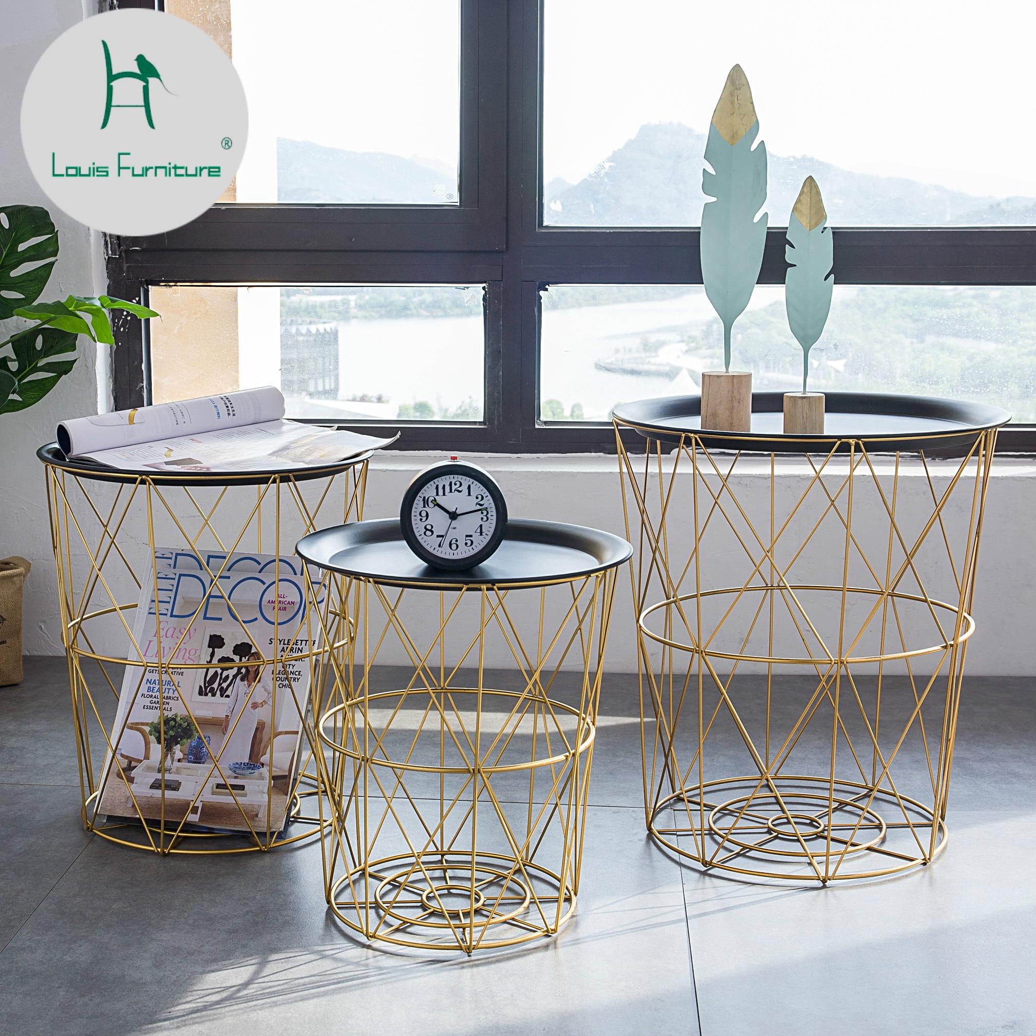 Nordic modern gold Iron wire metal storage basket side table black