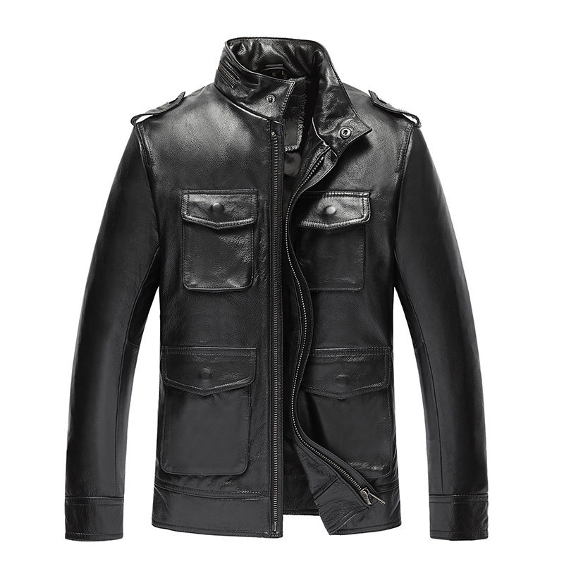 Genuine Leather Jackets For Men Top Quality Cow Leather Jacket Spring Autumn Plus Size 5XL Jaqueta Couro 19-818 MF601