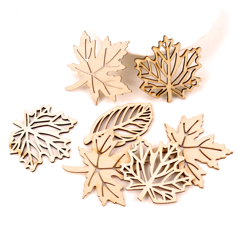 Natual Wooden Leaves Pattern Scrapbooking Painting Craft Handmade Accessory Sewing Home Decoration DIY 50-52mm 10pcs MZ230