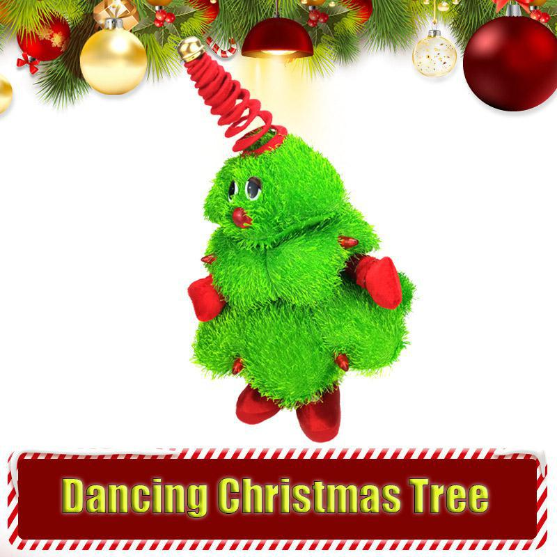 Electric Christmas Tree Plush Toys Can Sing Dance Shine Little Christmas Tree, Waving Christmas Hat Plush Dolls Festival Gifts