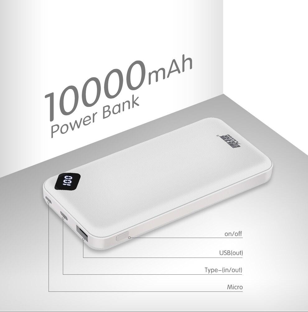 Leise Power Bank 10000mAh Portable Charging PowerBank 10000 mAh USB PoverBank External Battery Charger For Xiaomi Mi 9 8 iPhone