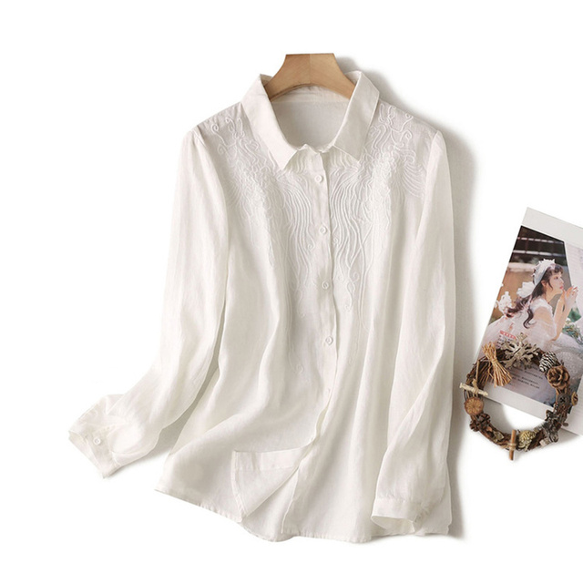 100% Cotton Women Casual Blouses Shirts New 2020 Spring Korean Style Floral Embroidery Ladies Elegant Tops Shirts Plus Size P280 4