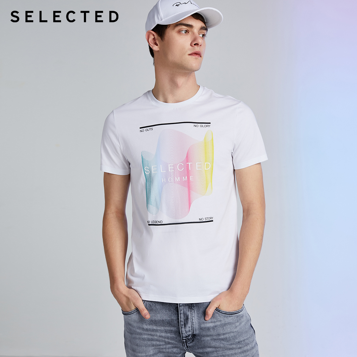 SELECTED Men's 100% Cotton Letter Print Short-sleeved T-shirt S|420201515