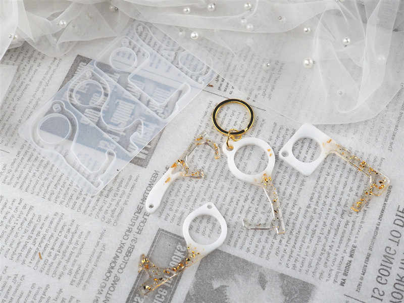 DIY שרף אפוקסי ללא מגע keychain עיתונות מעלית דלת פותחן סיליקון מראה עובש