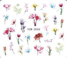 1 folha Unhas Água Adesivos Flor/Flamingo/Pena Da Arte Do Prego Tatuagem de Transferência de Água Adesivos Decalques Manicure Decoração