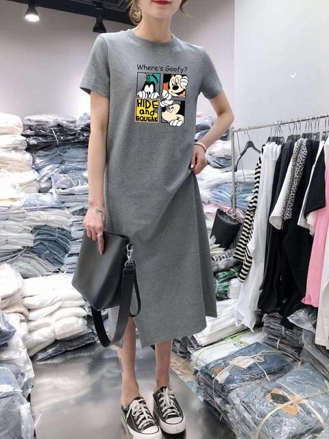 Summer Cartoon women dress short sleeve printed O-Neck Medium long black Plus Size dresses Female Casual clothes 2019 vestidos 4