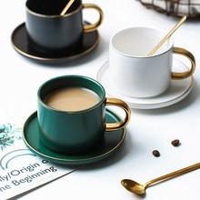 Verde cerámica café con leche taza Drinkware de taza de leche para desayunos china de hueso fino lindo vaso de tazas de té y platillo cuchara conjunto
