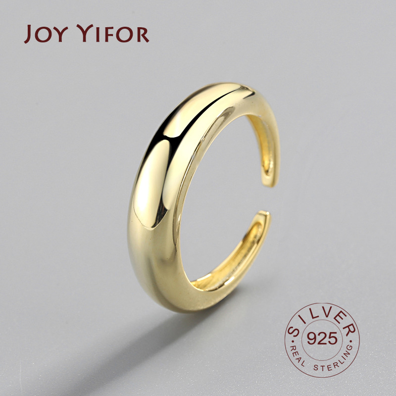 Geometry 925 Sterling Silver Rings Female's Korean Resizable Handmade Bague Femme Argent 925 Accesorios Mujer Moda 2020 Jewelry
