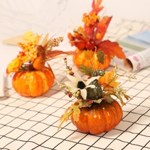 Artificial Pumpkin Maple Leaf Halloween Decorations Home Decoration Thanksgiving Autumn Ornament Props