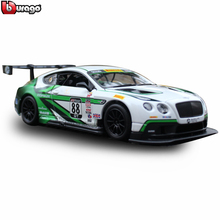 цена на Bburago 1:24 Bentley Continental GT3 simulation alloy car model crafts decoration collection toy tools gift