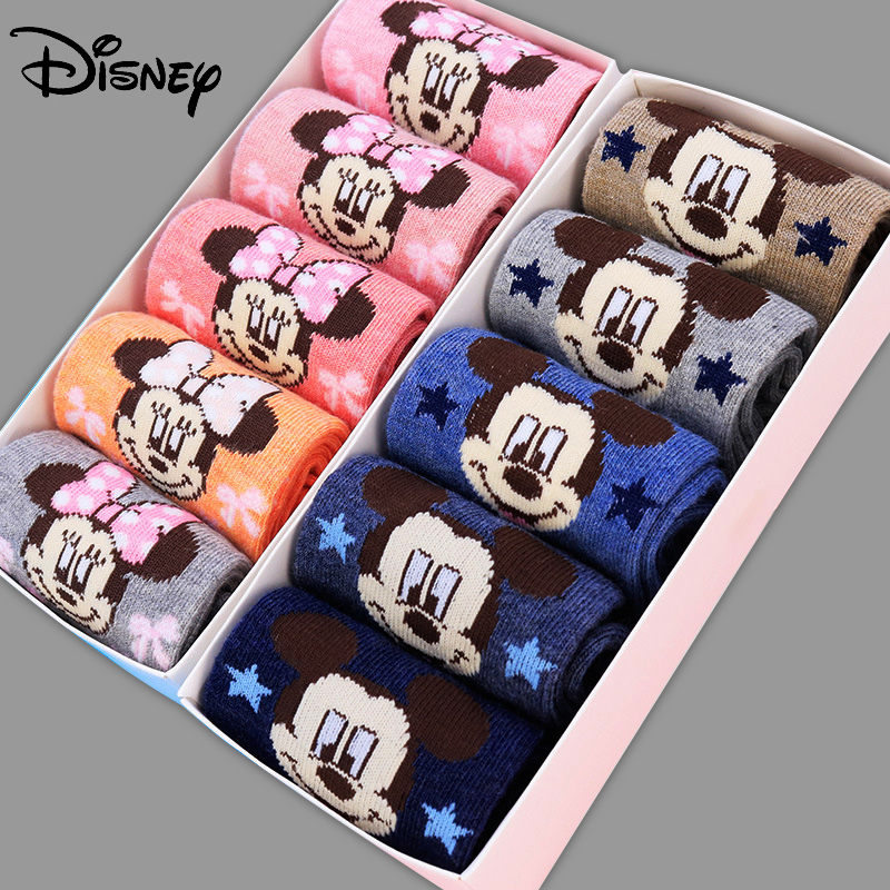 Disney 10 Pairs/lot Mickey Minnie Socks Winter Autumn  Cartoon Cute Socks Baby Gilrs Boys Lovely Combed Cotton High Quality New