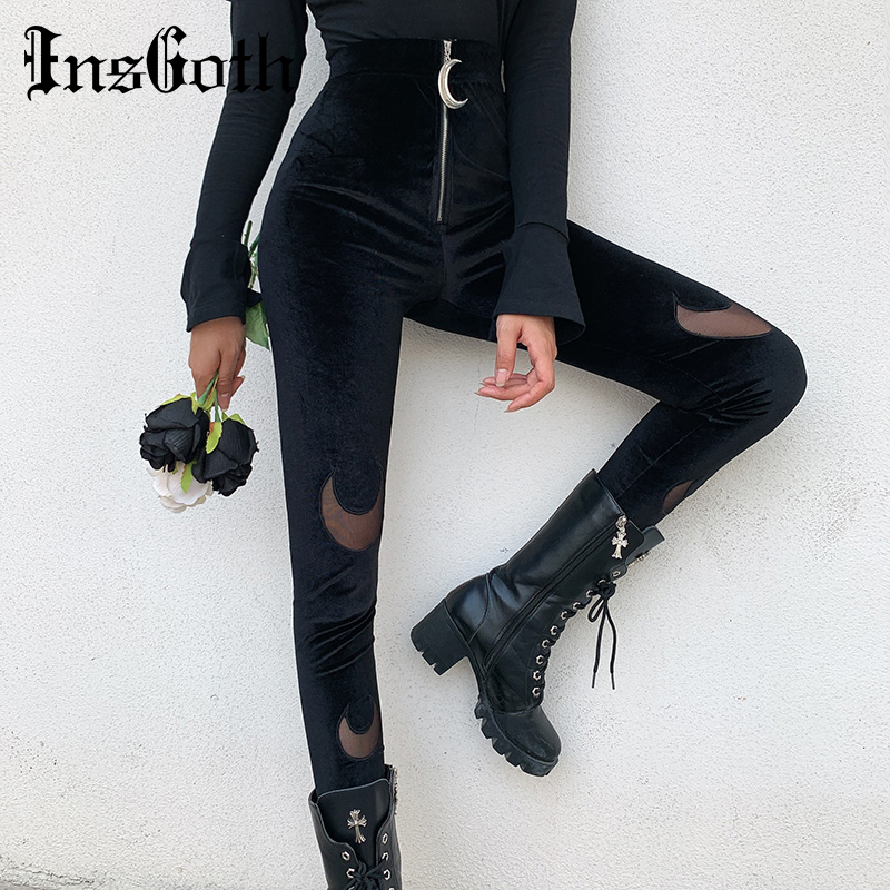 InsGoth Black High Waist Pencil Pants Women Gothic Streetwear Moon Hollow Out Zipper Velour Stretch Bodycon Pants Long Trousers