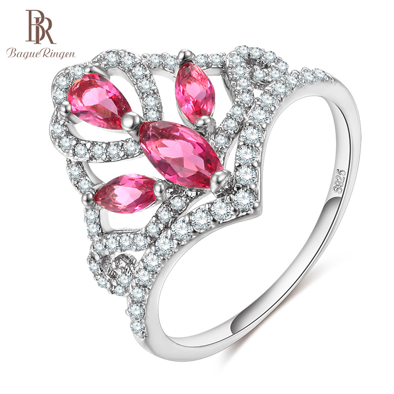 Bague Ringen Silver 925 Ring for Women Gemstones Fine Jewelry AAA Zircon Fashion Female Wedding Ring size6-9 Rose Gold Color