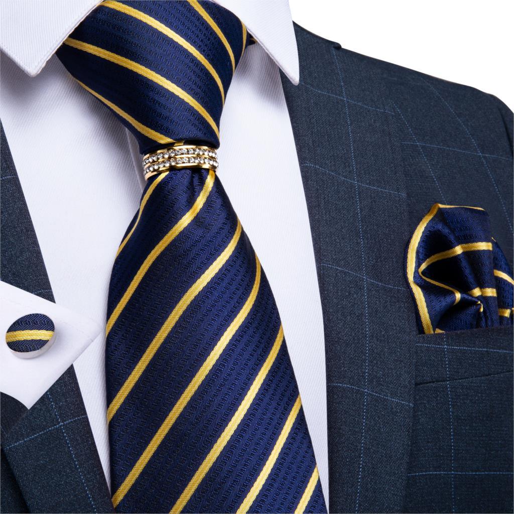 Mens Necktie Gold Blue Striped Design Wedding Tie For Men Necktie Ring Silk Tie Set Hanky Cufflinks DiBanGu Business JZ03-7029