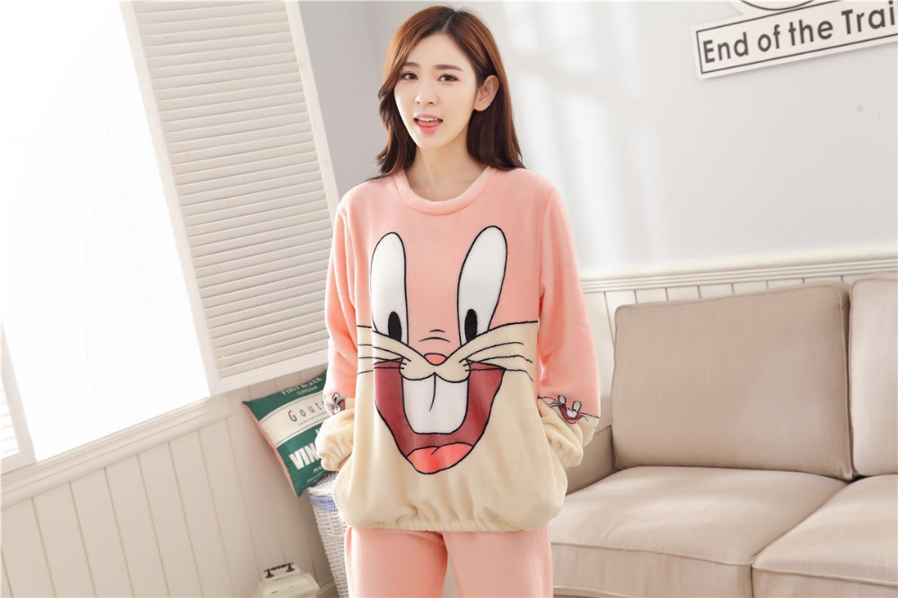 Women Pajamas Set For Autumn cute cartoon pink Women Clothes Sleepwear Nightgown For Women Long Sleeve And Pants Hot Sale pijama 58