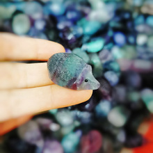 Недавно мини флюорит Ежик камень кварц кристалл резные украшения орнамент для домашнего офиса VA88