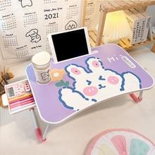 Mesa pequeña plegable para ordenador, mesa pequeña para dormitorio, chica, estudio, oficina en casa