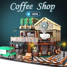 2059 шт создатель эксперт модульные здания кафе Кофейня с светильник строительные блоки кирпичи игрушки для детей