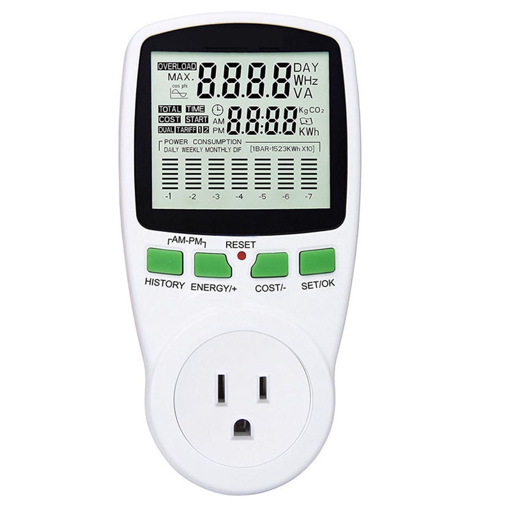 Digital lcd medidor de energia wattmeter wattmeter monitoramento energia elétrica kwh medidor de energia da ue eua reino unido au medição tomada analisador energia