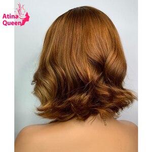 Цвет красный Боб короткий бордовый кружевной передний парик preplecked Remy Pixie Cut Highlight медовый блонд человеческие волосы Закрытие парики для женщ...
